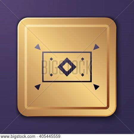 Purple Magic Carpet Icon Isolated On Purple Background. Gold Square Button. Vector
