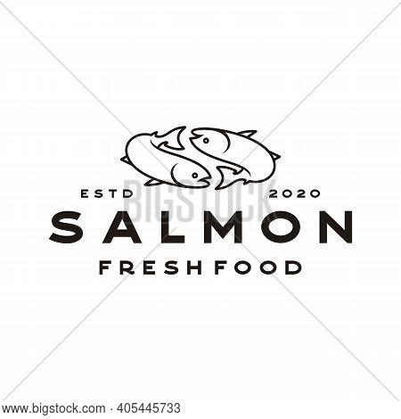 Line Art Salmon Poke Bar Logo Design Inspiration Vector
