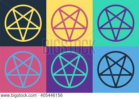 Pop Art Pentagram In A Circle Icon Isolated On Color Background. Magic Occult Star Symbol. Vector