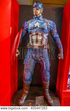 Tokyo, Japan - April 20, 2017: Captain America Model From Age Of Heroes Movie At Mori Tower, Roppong