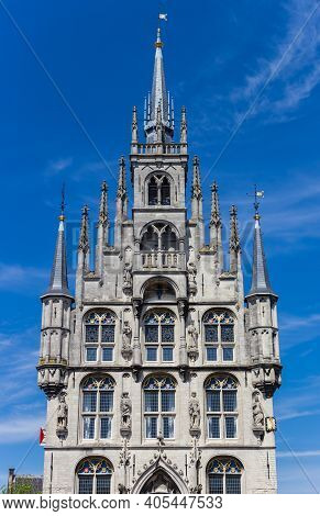 Little Towers On The Facade Of The Historic Town Hall In Gouda, Netherlands