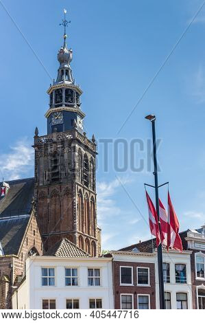 Tower Of The Historic Sint Jan Church In Gouda, Netherlands