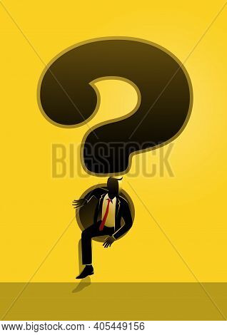 An Illustration Of A Businessman Sneaking Out Of Giant Question Mark