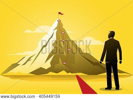 An Illustration Of A Businessman Looking At The Red Lines To The Top Of A Mountain