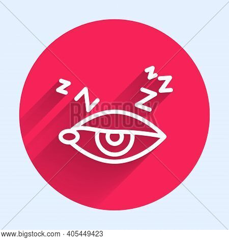 White Line Insomnia Icon Isolated With Long Shadow. Sleep Disorder With Capillaries And Pupils. Fati