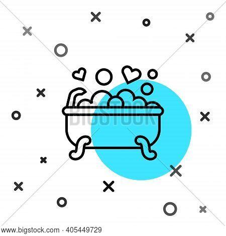 Black Line Romantic In Bathroom Icon Isolated On White Background. Concept Romantic Date. Romantic B