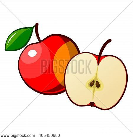 Drawn Ripe Apple Fruit. Ripe Red Apple Isolated On White Background. Drawn Fruit With Leaf. Whole An