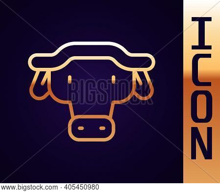 Gold Line African Buffalo Head Icon Isolated On Black Background. Mascot, African Savanna Animal. Wi