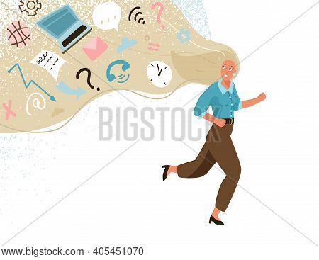 Information Overload Vector Illustration Concept. Young Business Woman Running Away From Info Data S