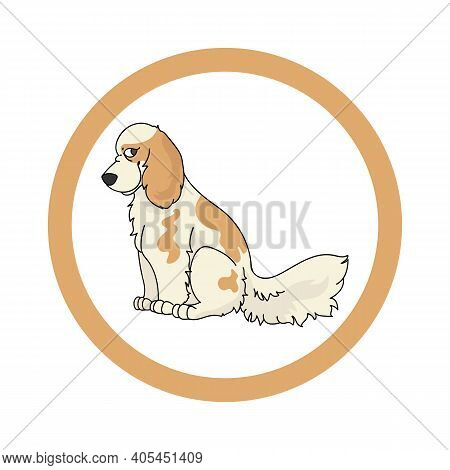 Cute Cartoon Cocker Spaniel In Circle Dog Vector Clipart. Pedigree Kennel Doggie Breed For Kennel Cl