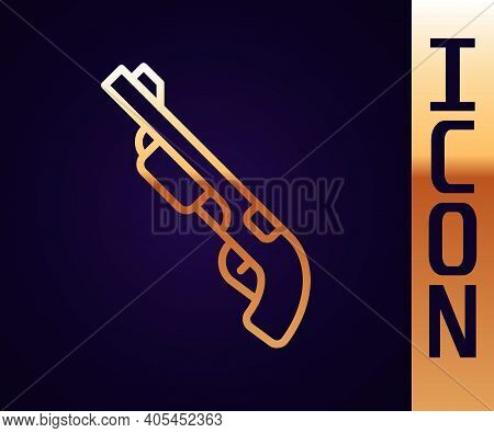 Gold Line Police Shotgun Icon Isolated On Black Background. Hunting Shotgun. Vector