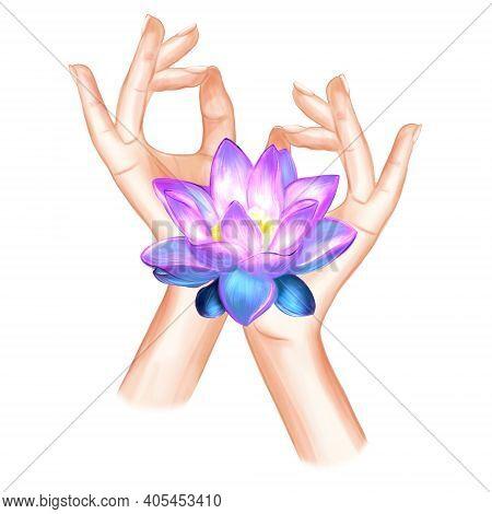 Hand In Yoga Mudra Chin Mudra Mudra For Consciousness Illustration. Yogic Hand Gesture.