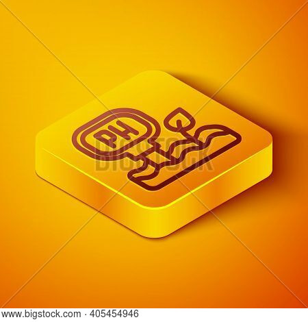Isometric Line Soil Ph Testing Icon Isolated On Orange Background. Ph Earth Test. Yellow Square Butt