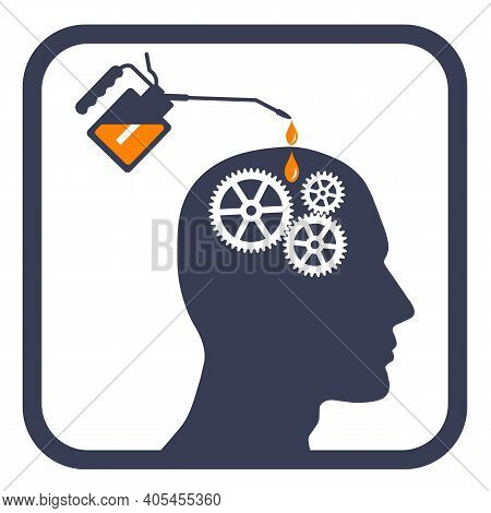 Hand Lubricating Gears With Gear Oil In The Man Head. Repair Of Equipment. Vector Illustration.
