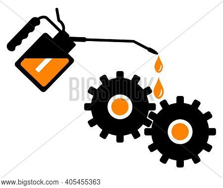 Lubrication Of Gears With An Oil Can. Hand Lubricating Gears With Gear Oil. Repair Of Equipment. Vec
