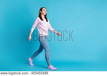 Full Length Profile Photo Of Charming Cute Lady Hold Good Mood Walk Moving Street Season Look Wear C