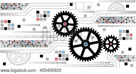 Cogwheel Gear Mechanism. Abstract Colorful Background With Gear Mechanism. Silouettes Of Black Gears