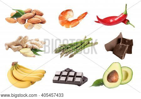 Set With Different Aphrodisiac Food For Increasing Sexual Desire On White Background