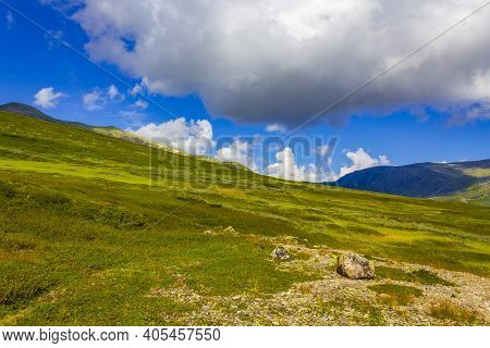Amazing Norwegian Landscape Colorful Mountains On Sunny Day Vang Norway.