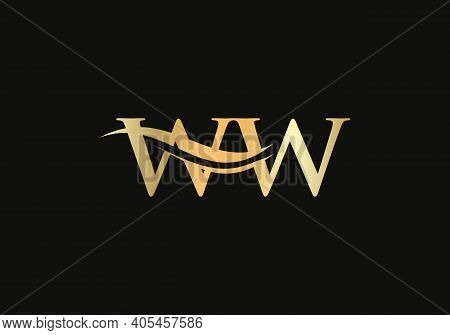 Swoosh Letter Ww Logo Design For Business And Company Identity. Water Wave Ww Logo With Modern Trend