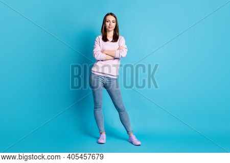 Full Length Photo Of Pretty Confident Bossy Lady Hold Arms Crossed Manager Best Worker Representativ