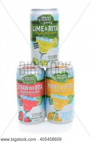 IRVINE, CA - JUNE 16, 2014: Bud Light Margarita With A Twist cans. The beer base flavored drinks include, Lime-A-Rita, Straw-Beer-Rita, Mang-O-Rita.