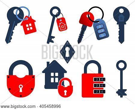 Padlocks And Keys Icons. Stylized Images Of Padlocks, Keys, Key Chains. Icon Set. Vector Illustratio
