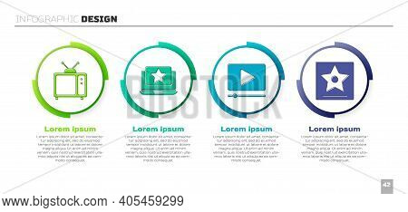 Set Retro Tv, Laptop With Star, Online Play Video And Hollywood Walk Of Fame Star. Business Infograp
