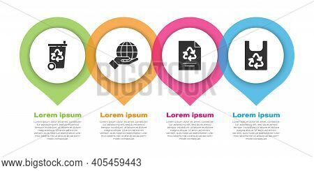 Set Recycle Bin With Recycle, Hand Holding Earth Globe, Paper With Recycle And Plastic Bag With Recy