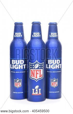 IRVINE, CALIFORNIA - JANUARY 22, 2017: Bud Light Aluminum Bottles. The resealable bottles feature the NFL and Super Bowl LI logos.