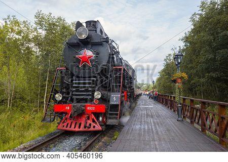 Ruskeala, Russia - August 15, 2020: Tourist Train