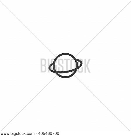 Planet Saturn Or Jupiter. Black Line Icon Isolated On White. Cosmos, Universe, Space Sign. Science,