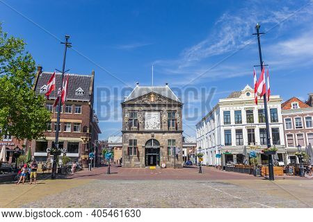 Gouda, Netherlands - May 21, 2020: Historic Waag Building On The Market Square In Gouda, Netherlands
