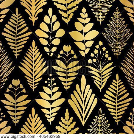 Luxury Golden Art Deco Floral Pattern. Nature Background Vector With Gold Foil Faux Metallic Texture