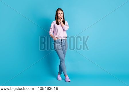 Full Size Photo Pretty Charming Lady Good Mood Touch Neck Cheek Dreamer Street Look Walk Nice Weathe