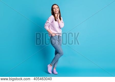 Full Body Photo Pretty Charming Lady Good Mood Touch Neck Dreamer Beaming Smile Street Look Wear Cas