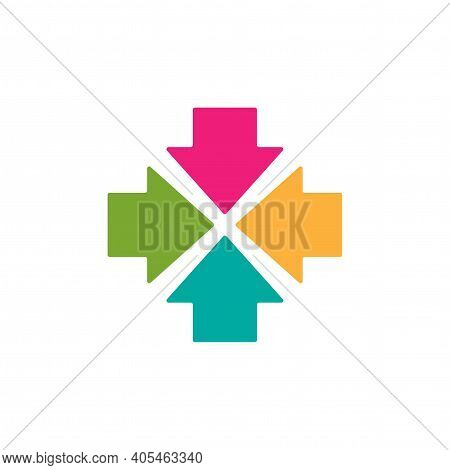 Four Colorful Squared Arrows Point To The Center. Triple Collide Arrows Icon. Merge Directions Icon.