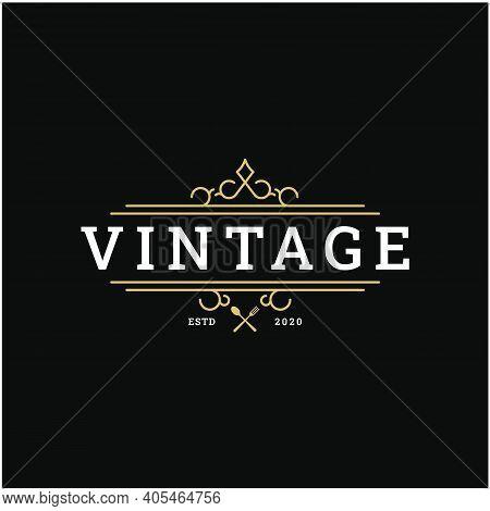 Vintage Retro Restaurant Bar Bistro Logo Design Vector