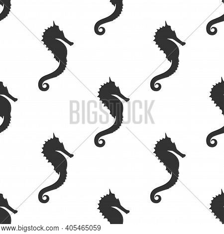Seamless Pattern With Black Sea-horse Or Hippocampus On White Background. Marine Seahorse Simple Tex