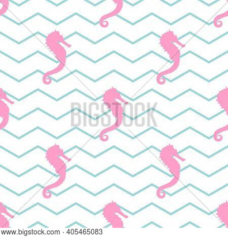 Seamless Pattern With Pink Sea-horse Or Hippocampus On White Background With Blue Zigzag. Marine Sea