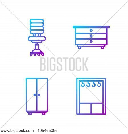 Set Line Wardrobe, Wardrobe, Office Chair And Chest Of Drawers. Gradient Color Icons. Vector