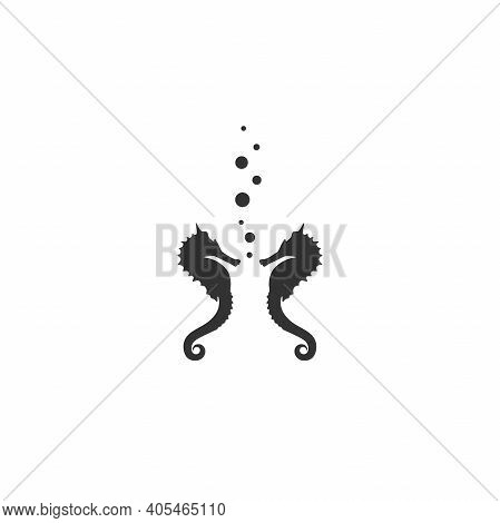 Two Black Sea-horses Or Hippocampus With Air Bubbles On White Background. Marine Seahorse Simple Ico