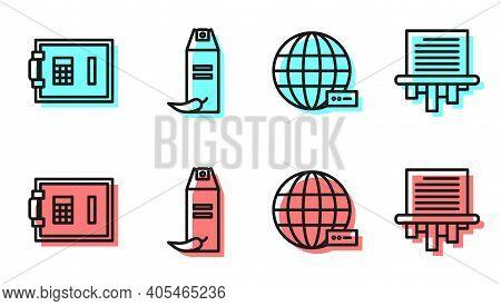 Set Line Social Network, Safe, Pepper Spray And Paper Shredder Icon. Vector