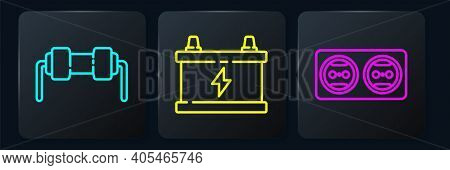 Set Line Resistor Electricity, Electrical Outlet And Car Battery. Black Square Button. Vector