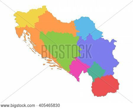 Yugoslavia Map, Administrative Division, Separate Individual Regions, Color Map Isolated On White Ba