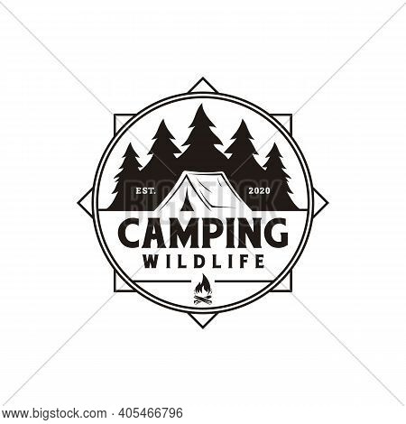 Compass And Forest Camping Logo Emblem Summer Camping Vector Illustration With Tent And Pine Trees S
