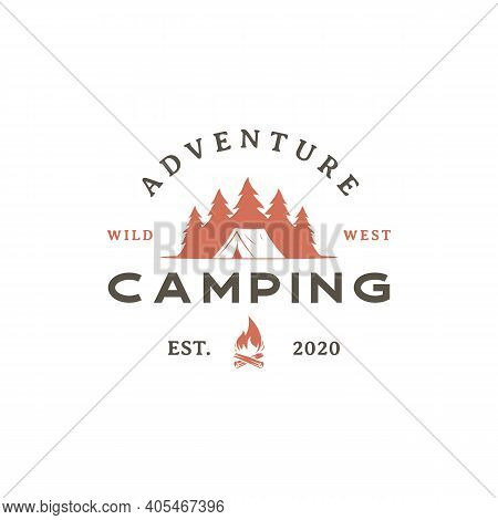 Vintage Retro Forest Camping Logo Emblem Summer Camping Vector Illustration With Tent And Pine Trees