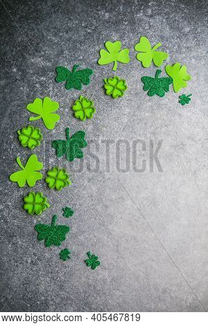 Happy St. Patrick's Day. Card With  Lucky Clover. Irish Festival Symbol. Lucky Concept. St. Patrick'