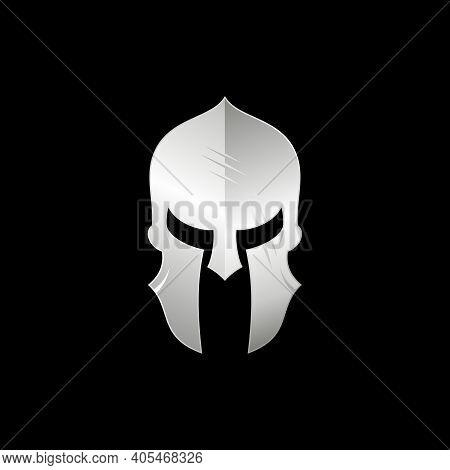 Sparta / Spartan Warrior Helmet Logo, Metallic Silver Warrior Helmet Logo Design
