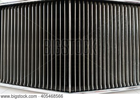 Full Screen Chrome Grille Of A Vintage Retro Car.